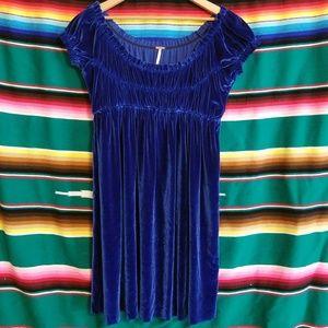 Gorgeous Free People Blue Velvet Dress